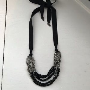 Ann Taylor Loft Black Satin Ribbon Necklace